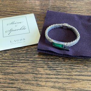 Lagos Venus Malachite 'signature caviar' bracelet